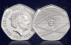 Sir Issac Newton rare 2017 50p coin