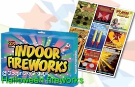 🎃💥HALLOWEEN FIREWORKS INDOOR FIREWORKS 25 ITEMS PARTY SPARKLERS FUN PACK NEW 💥🎃