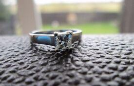 Platinum 950 Princess Cut .45ct Solitaire Diamond Engagement Ring Size H