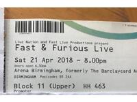 2x Fast And Furious Stunt show Tickets
