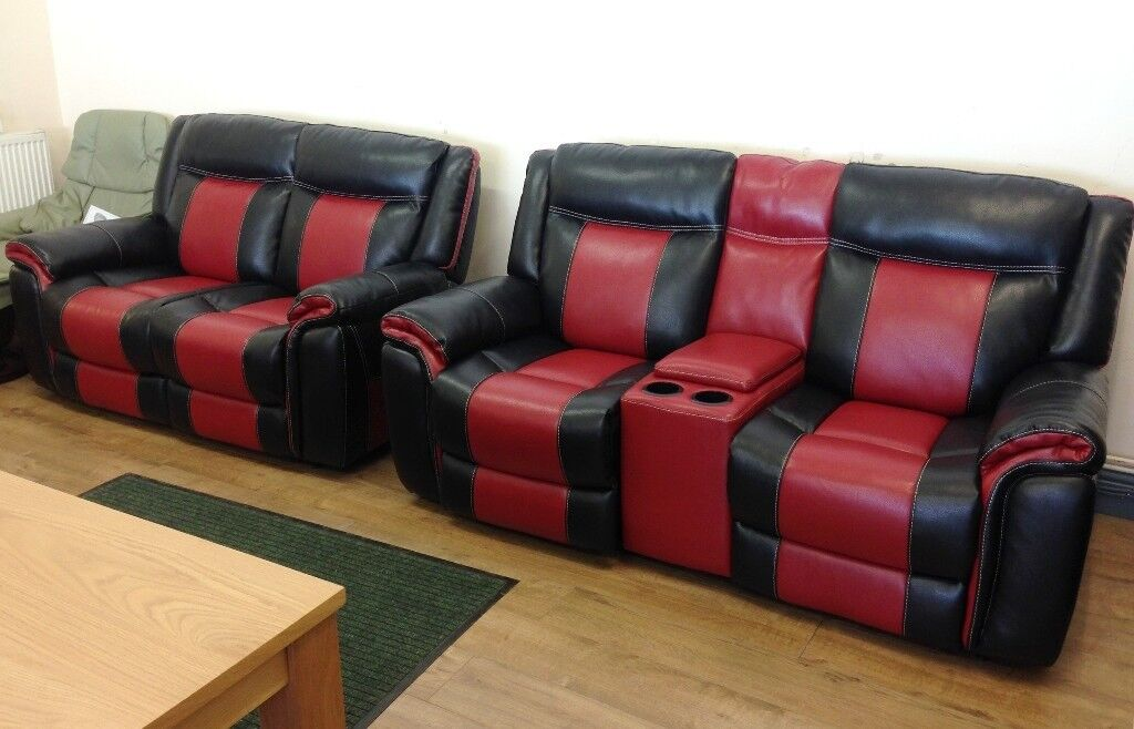 Scs Baxter Black Amp Red Electric Reclining 2 2 Sofa