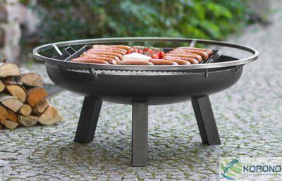 Korono Feuerschale aus Stahl mit Tragering und Grillrost, Ø 80cm, Handmade