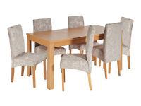 Elmwood Extendable Oak Veneer Table & 6 Chairs - Grey Damask
