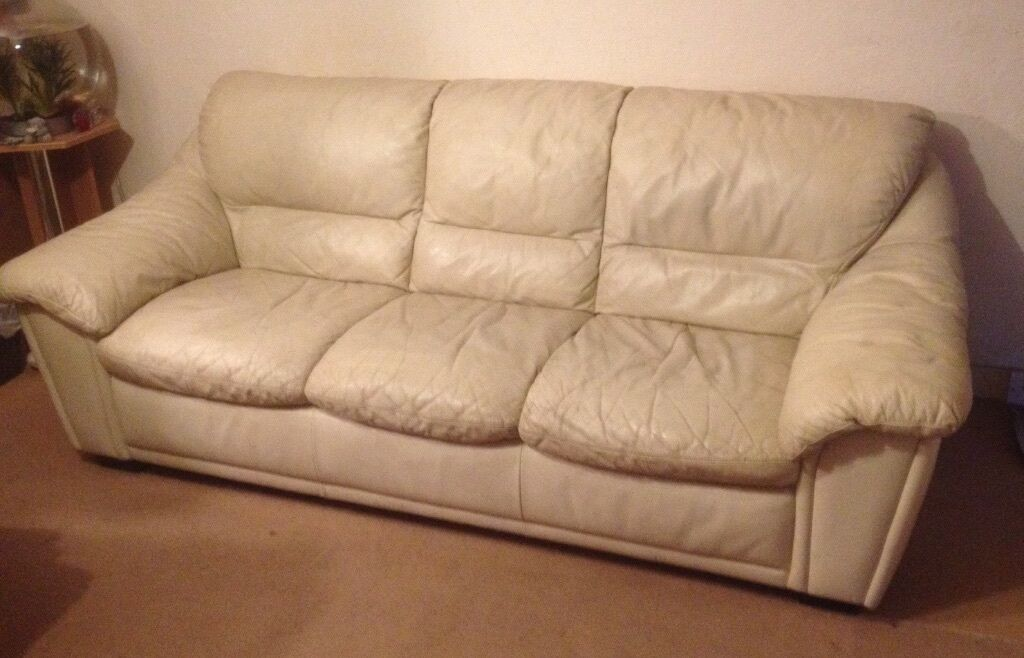 sofas cream leather two seater and three seater