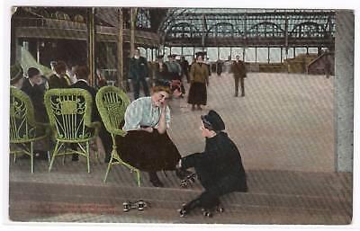 - Couple Roller Skating Hall 1910c postcard