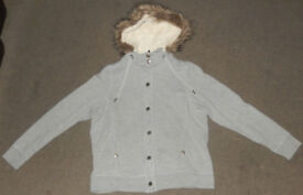 M&S Marks and Spencer women ladies grey coat jacket faux fur warm hoodie zipped and poppers Size: 16