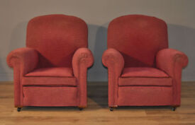 Attractive Pair of Two Vintage Red Upholstered Scroll Arm Chair Armchairs
