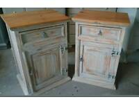 Pair of Mexican pine bedside cupboards
