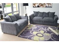 DYLAN JUMBO GREY 3+2 SEATER OR CORNER SOFA | SWIVEL CHAIR | 1 YEAR WARRANTY | UK EXPRESS DELIVERY