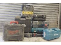 10 EMPTY power tools boxes carry cases lot stock Makita, DeWalt, Bosch, Milwaukee, Titan, Allister