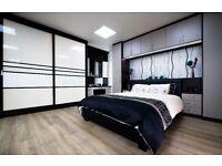Fitted Bedroom Sliding Door Wardrobes and Over Bed Wardrobe Storage