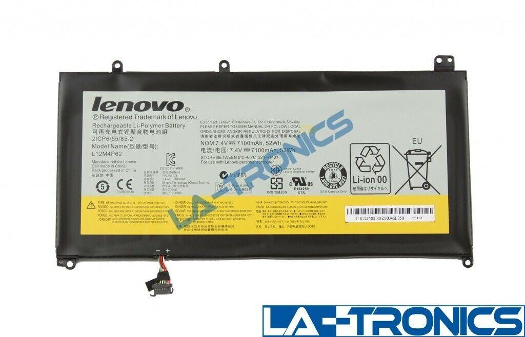 "Genuine Lenovo IdeaPad U430 Touch 14"" Laptop Battery 7.4V 52Wh 7100mAh L12M4P62"