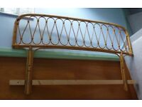Vintage Bamboo Headboard to fit standard double bed, board = 141cm wide x 41 cm high + 2 screws