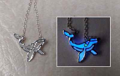 Humpback Whale GLOW IN THE DARK Blue White Green Silver Pendant Charm Necklace