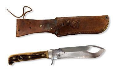 Vintage PUMA White Hunter # 6377 Stag Handle Fixed-Blade Knife w/ Leather Sheath