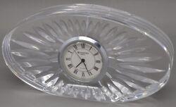 Vintage Waterford Crystal Oval Clock Small Desk Clock Mantle Cut Crystal Works!