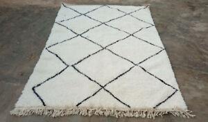 Beni Ourain Handmade wool Rug Moroccan Rug 235cm X 154cm