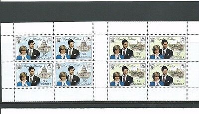 Anguilla 1981 Royal Wedding.SG464 & 466  Two very nice blocks with margins from