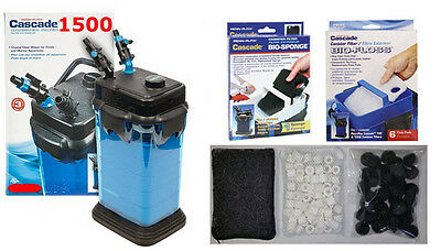 CASCADE 1500 AQUARIUM FISH TANK SUPER FILTER KIT. $199.99 VALUE.