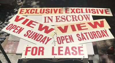 Vintage Real Estate Rider Sign Lot Of 8 All 2 Sided Heavy Solid Plastic