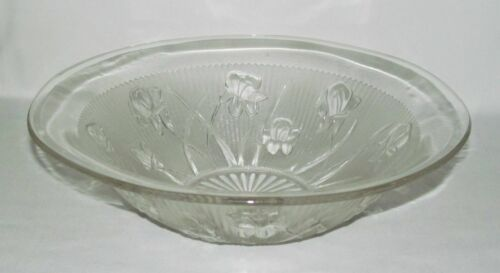 Jeannette Glass Co. IRIS AND HERRINGBONE Crystal Large Straight-Edge Fruit Bowl