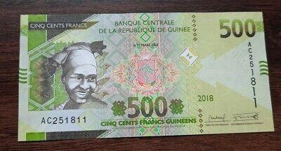 G10136 billet de banque du monde Guinée 500 francs 2018 neuf/unc