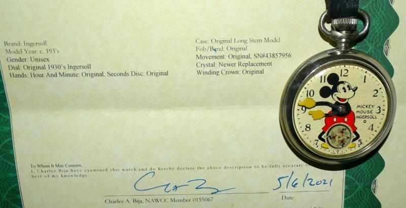 """EX!DISNEY 1934 INGERSOLL""""MICKEY MOUSE POCKET WATCH""""-DETAIL SERVICE+COA+FOB&STRAP"""