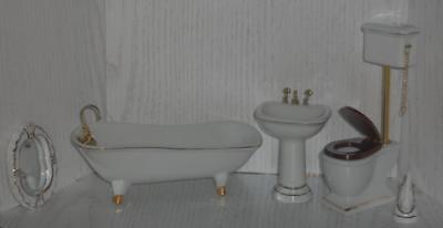 edles 4-teiliges Bad aus Porzellan Blumendekor Puppenhaus Miniatur 1:12