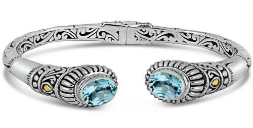 DEVATA Bali Sterling Silver Cuff Bracelet 18K Gold Blue Topaz DVK6935BT Sz S/M
