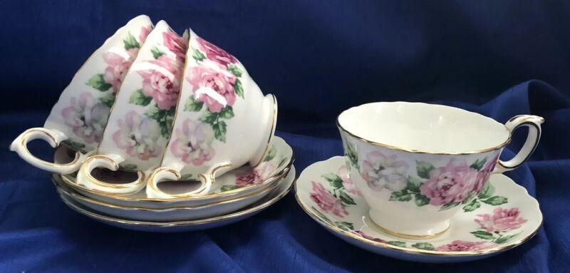 Crown Staffordshire Fine Bone China Set Of 4 Tea Cups & Saucers Trinity Rose VTG