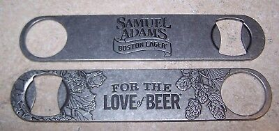 Lot of 2 Samuel Adams For The Love of Beer Paddle Bottle Openers Bar Key ](Key Bottle Openers)
