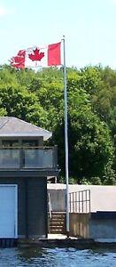 Flagpoles -6½'Wall $30 -12'Ground $60-Fibreglass $200 Pully$250
