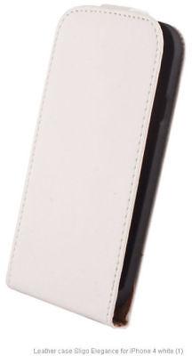 Elegance Handyhülle Cover Tasche Etui Flip Case Klappetui iPhone 4 & 4S weiß Gsm Flip Handy