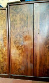 Vintage art decco walnut wardrobes