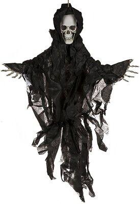 Halloween-Deko Dekoration Grusel-Kunststoff-Figur 75 cm Helloween Skull IV black ()
