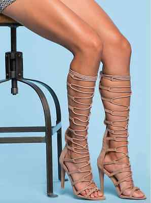 Nude High Cut (TAUPE NUDE STRAPPY LACE UP HIGH KNEE HEELS STILETTO FASHION NEW HOT CUT OUT)