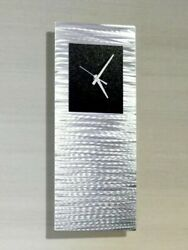 Modern Metal Wall Clock Art Silver Black Wall Sculpture Clock Decor Jon Allen