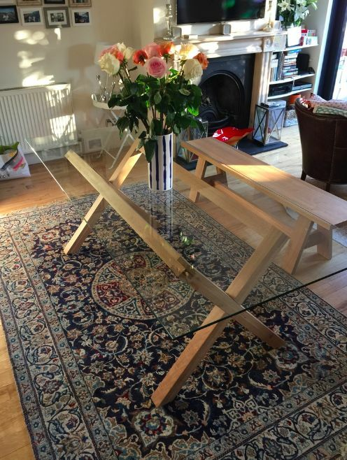 Habitat 8 Seater Dublin Oak And Glass Dining Table Matching Bench