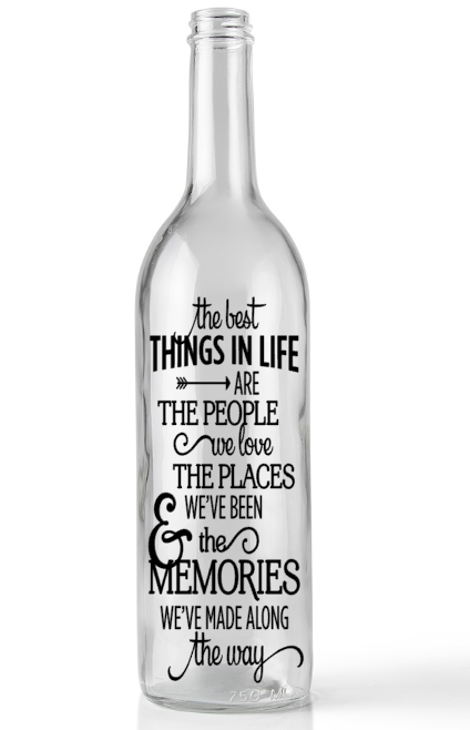 Home Decoration - wine Bottle decal The best things in life vinyl sticker vinyl decal