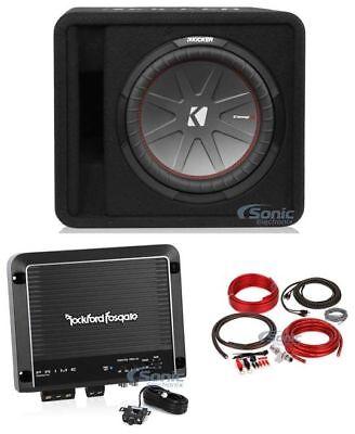 Kicker 43VCWR122 Subwoofers para carros de 500W + R500X1D Mono Amplifier + 4 Gauge Amp Kit