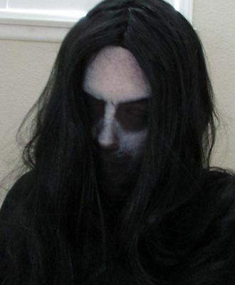 Creepy Scary Disturbed Ghost Halloween Mask with Wig Dead Costume Mens Womens ](Halloween Costumes With Mask)