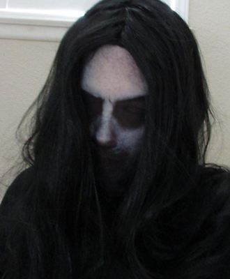 Creepy Scary Disturbed Ghost Halloween Mask with Wig Dead Costume Mens Womens  - Man With Wig