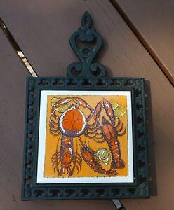 Vintage Tile & Cast Iron Trivet - Lobster Theme