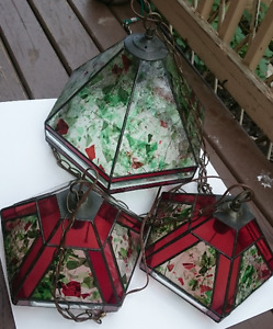 3 Tiffany Stain Glass Ceiling Lights - Locally Made