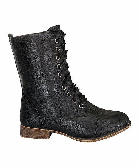 Forever Link Women's Lace-Up Mid Calf Boots Black US 10    #