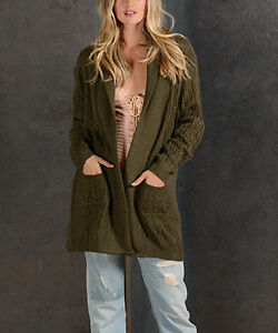 OLIVE CABLE-KNIT HOODED WOOL-BLEND OPEN CARDIGAN
