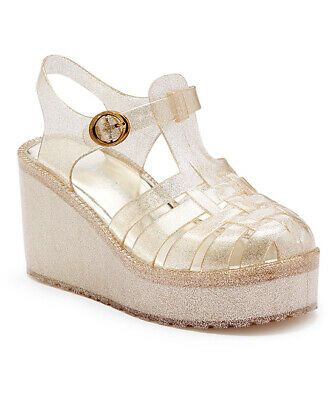 PANDORA Women's Platform Wedge Jelly Sandal Clear/ Gold Glitter US 7 7 Clear Platform Sandal