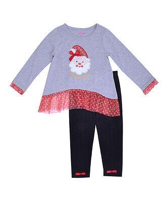 Santa Outfit For Girls (NWT Nannette Santa Ruffle Tunic Black Leggings Girls Christmas)