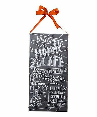 CLEARANCE! THE MUMMY CAFE CHALK BOARD STYLE  HALLOWEEN WOOD BOX SIGN