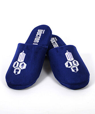 Doctor Who BLUE TARDIS Open Back Slippers SIZE 10 - 11 Men's